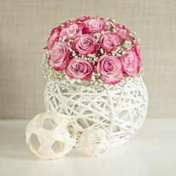 PURPLE ROSES WEDDING ARRANGEMENT