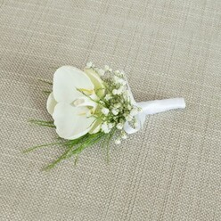WHITE ORCHID GROOM BOUTONNIERE